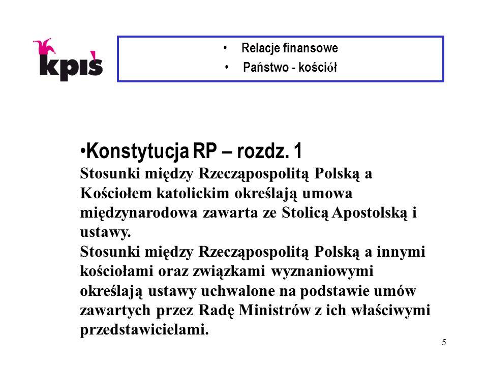 5 Relacje finansowe Państwo - kości ó ł Konstytucja RP – rozdz. 1 Stosunki między Rzecząpospolitą Polską a Kościołem katolickim określają umowa między