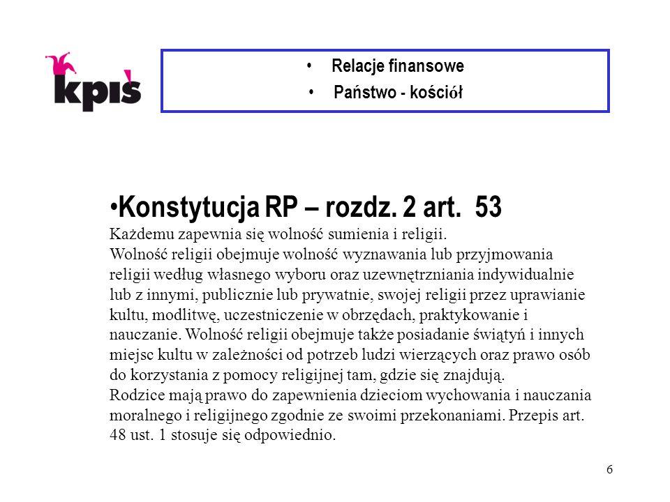 6 Relacje finansowe Państwo - kości ó ł Konstytucja RP – rozdz.