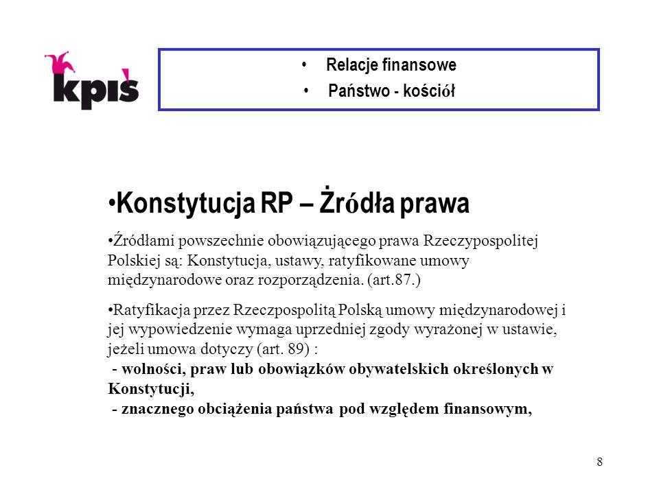 8 Relacje finansowe Państwo - kości ó ł Konstytucja RP – Żr ó dła prawa Źródłami powszechnie obowiązującego prawa Rzeczypospolitej Polskiej są: Konstytucja, ustawy, ratyfikowane umowy międzynarodowe oraz rozporządzenia.