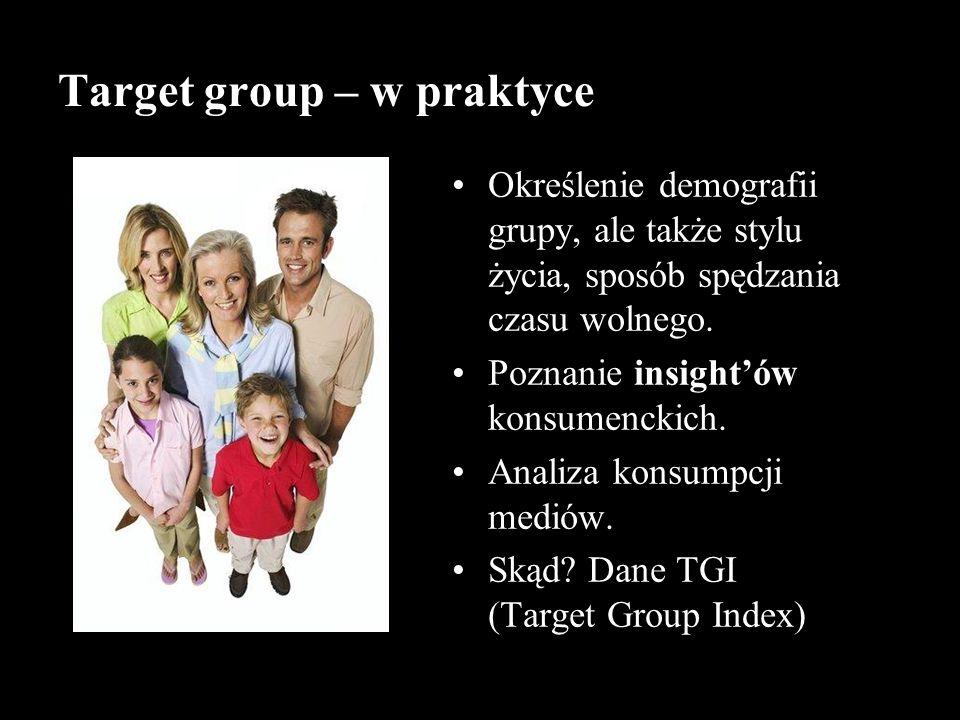 Target group – w praktyce Określenie demografii grupy, ale także stylu życia, sposób spędzania czasu wolnego. Poznanie insightów konsumenckich. Analiz