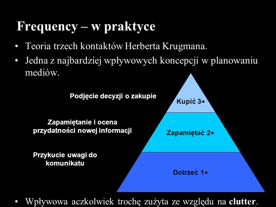 Frequency – w praktyce Teoria trzech kontaktów Herberta Krugmana. Jedna z najbardziej wpływowych koncepcji w planowaniu mediów. Wpływowa aczkolwiek tr