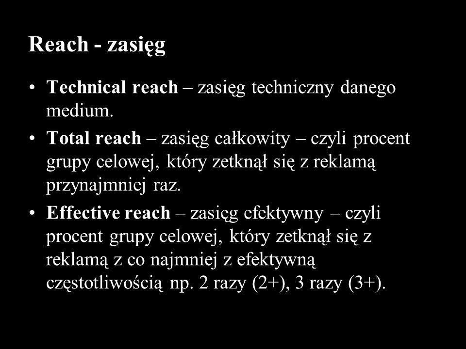 Technical reach – zasięg techniczny danego medium. Total reach – zasięg całkowity – czyli procent grupy celowej, który zetknął się z reklamą przynajmn
