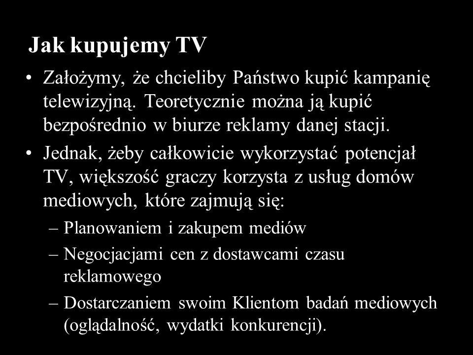 Założymy, że chcieliby Państwo kupić kampanię telewizyjną. Teoretycznie można ją kupić bezpośrednio w biurze reklamy danej stacji. Jednak, żeby całkow
