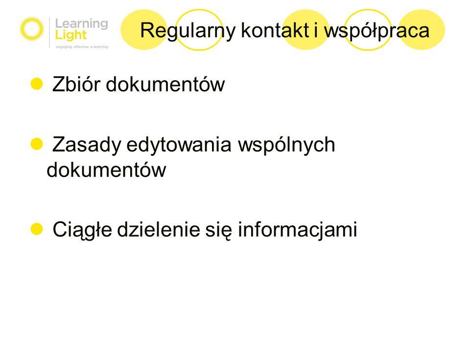 Regularny kontakt i współpraca Zbiór dokumentów Zasady edytowania wspólnych dokumentów Ciągłe dzielenie się informacjami