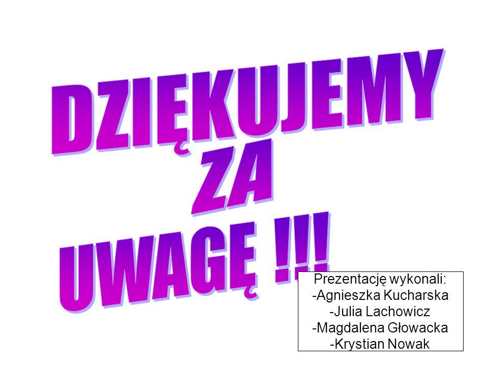Prezentację wykonali: -Agnieszka Kucharska -Julia Lachowicz -Magdalena Głowacka -Krystian Nowak