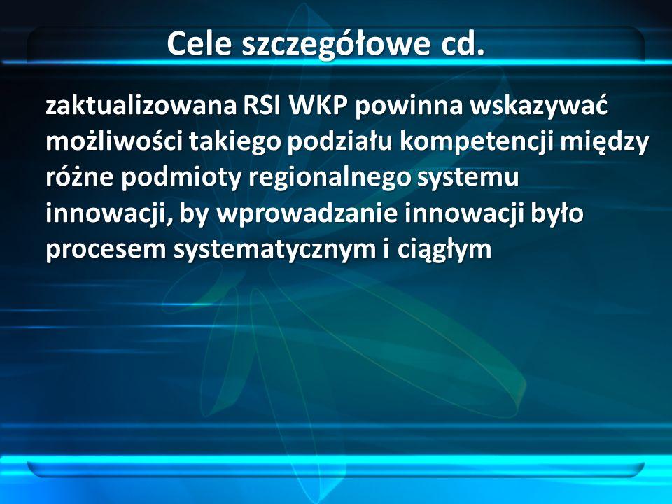 zaktualizowana RSI WKP powinna wskazywać możliwości takiego podziału kompetencji między różne podmioty regionalnego systemu innowacji, by wprowadzanie