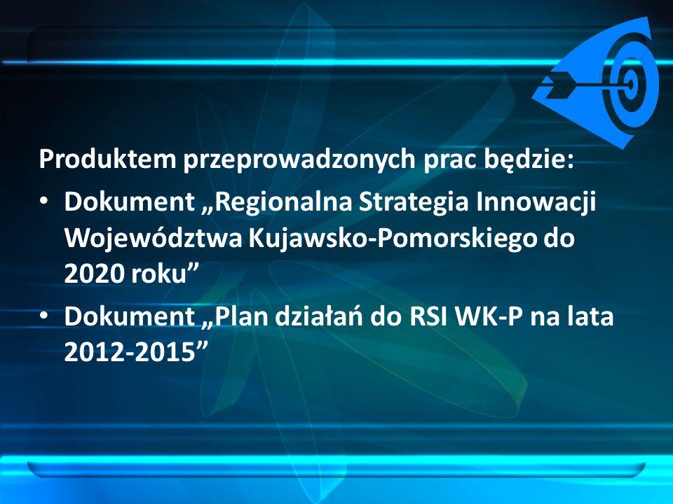 Produktem przeprowadzonych prac będzie: Dokument Regionalna Strategia Innowacji Województwa Kujawsko-Pomorskiego do 2020 roku Dokument Plan działań do
