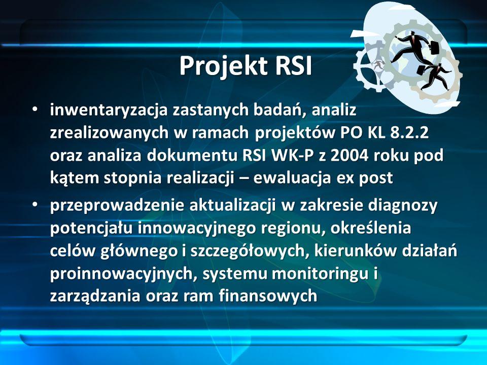 Projekt RSI inwentaryzacja zastanych badań, analiz zrealizowanych w ramach projektów PO KL 8.2.2 oraz analiza dokumentu RSI WK-P z 2004 roku pod kątem