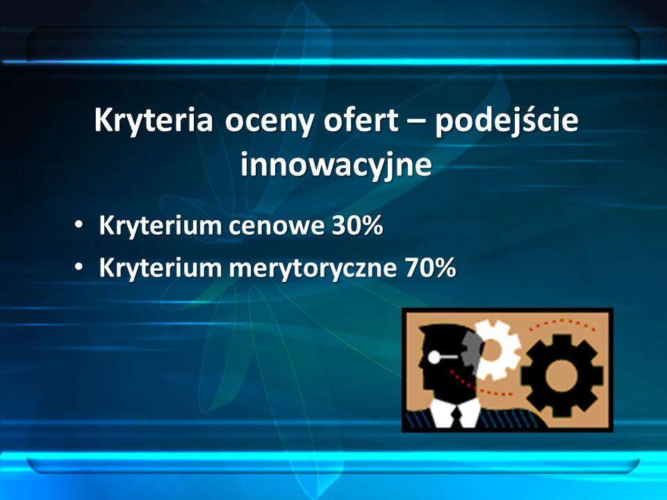 Kryteria oceny ofert – podejście innowacyjne Kryterium cenowe 30% Kryterium cenowe 30% Kryterium merytoryczne 70% Kryterium merytoryczne 70%