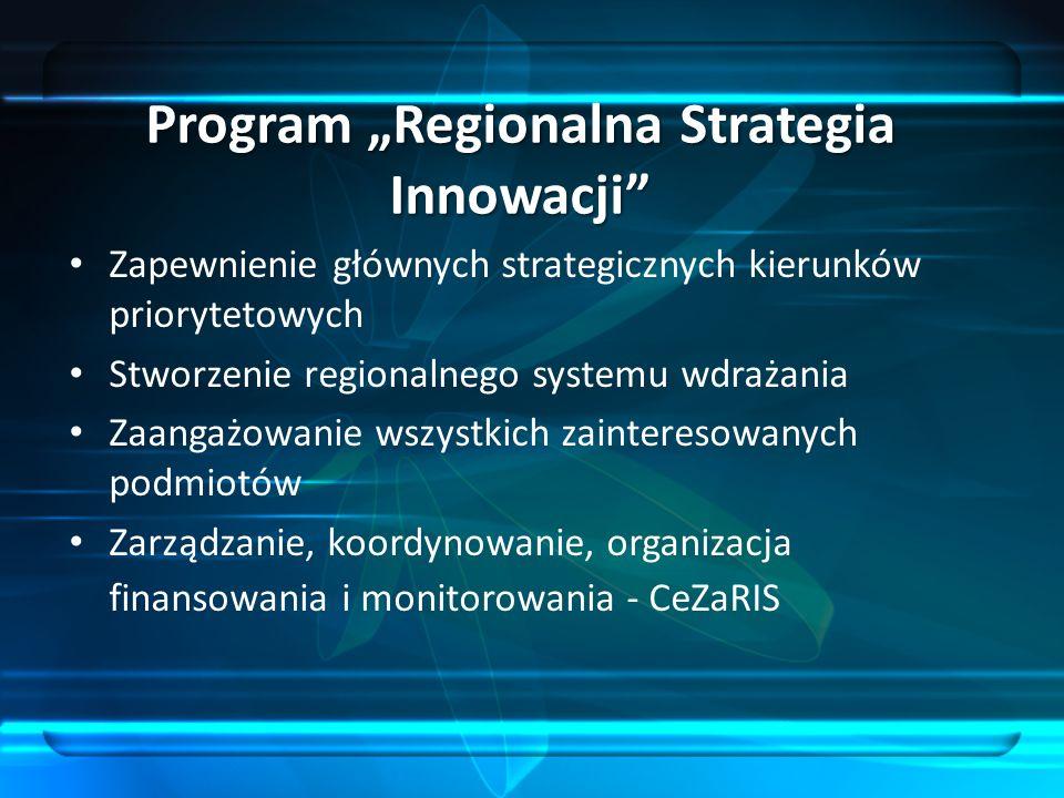 Program Regionalna Strategia Innowacji Zapewnienie głównych strategicznych kierunków priorytetowych Stworzenie regionalnego systemu wdrażania Zaangażo