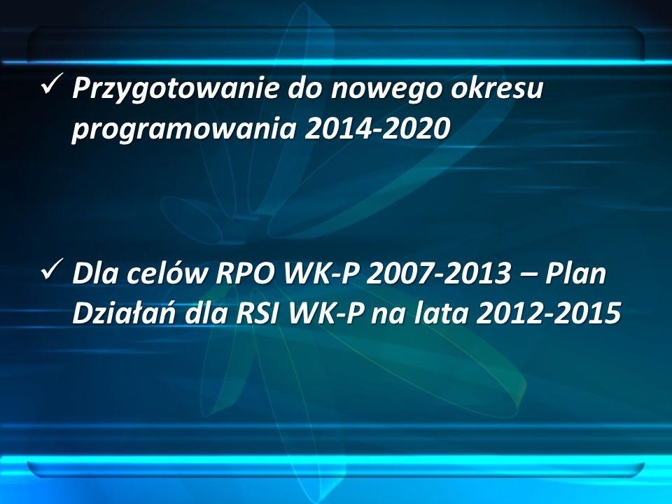 Przygotowanie do nowego okresu programowania 2014-2020 Przygotowanie do nowego okresu programowania 2014-2020 Dla celów RPO WK-P 2007-2013 – Plan Dzia