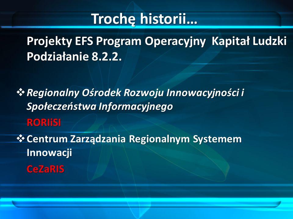 Projekty EFS Program Operacyjny Kapitał Ludzki Podziałanie 8.2.2. Regionalny Ośrodek Rozwoju Innowacyjności i Społeczeństwa Informacyjnego Regionalny