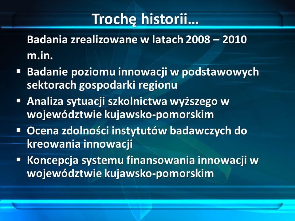 Badania zrealizowane w latach 2008 – 2010 m.in. Badanie poziomu innowacji w podstawowych sektorach gospodarki regionu Badanie poziomu innowacji w pods