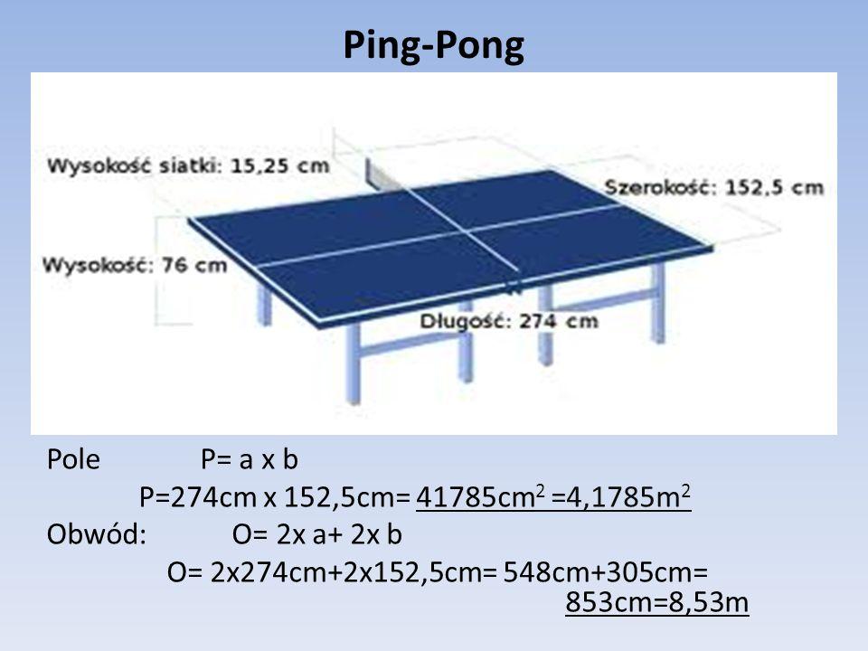 Siatkówka Pole: P= a x b P=9,5m x 1m = 9,5m 2 pole siatki Obwód: O=2x a+2x b O=2x 9,5m+2x 1m=19+2= 21m obwód siatki