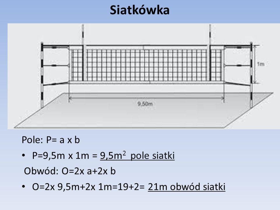 Koszykówka Pole P= a x b P=8m x 5m=40m 2 Obwód O=2x a+2x b O=2x 8m+2x 5m=16m+10m=26m