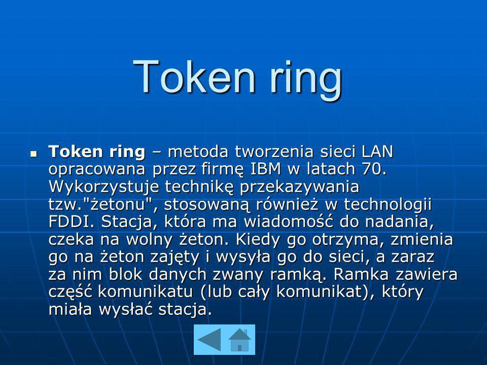 Token ring Token ring – metoda tworzenia sieci LAN opracowana przez firmę IBM w latach 70. Wykorzystuje technikę przekazywania tzw.