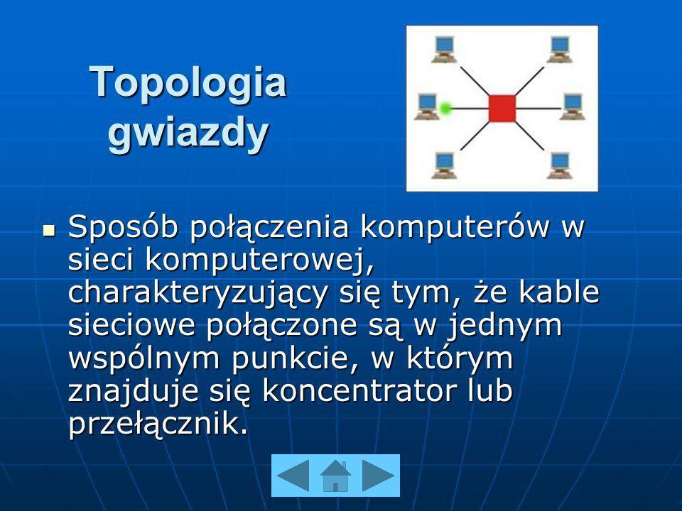 Topologia gwiazdy Sposób połączenia komputerów w sieci komputerowej, charakteryzujący się tym, że kable sieciowe połączone są w jednym wspólnym punkcie, w którym znajduje się koncentrator lub przełącznik.