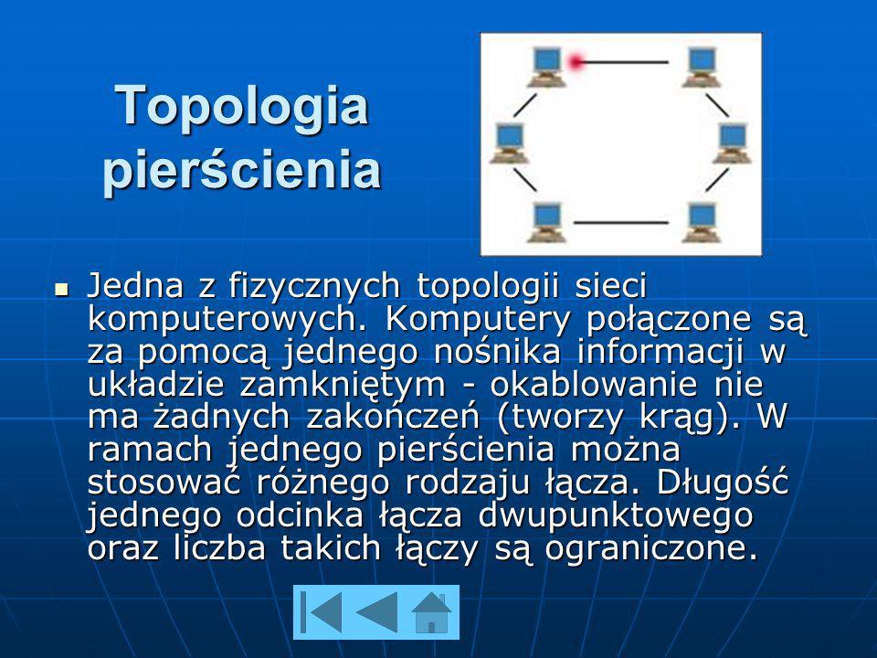 Topologia pierścienia Jedna z fizycznych topologii sieci komputerowych.
