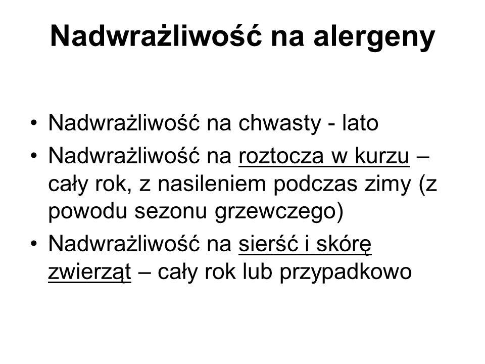 Nadwrażliwość na alergeny Nadwrażliwość na chwasty - lato Nadwrażliwość na roztocza w kurzu – cały rok, z nasileniem podczas zimy (z powodu sezonu grz