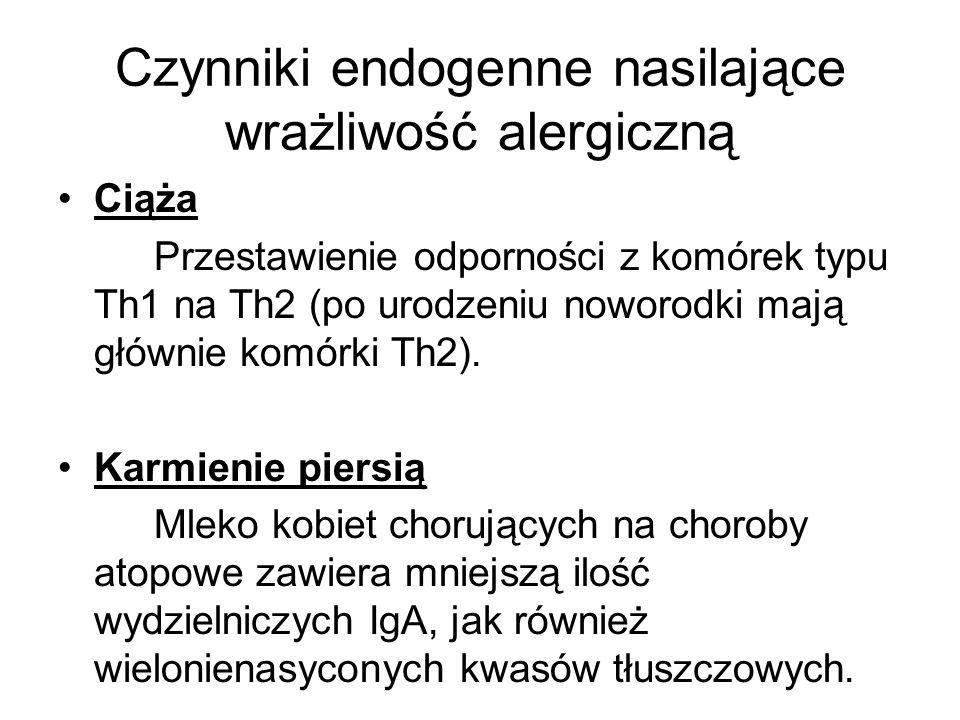 Czynniki endogenne nasilające wrażliwość alergiczną Ciąża Przestawienie odporności z komórek typu Th1 na Th2 (po urodzeniu noworodki mają głównie komó
