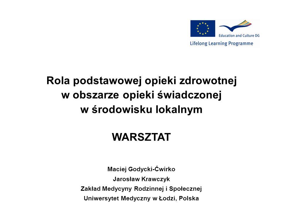 Rola podstawowej opieki zdrowotnej w obszarze opieki świadczonej w środowisku lokalnym WARSZTAT Maciej Godycki-Ćwirko Jarosław Krawczyk Zakład Medycyn