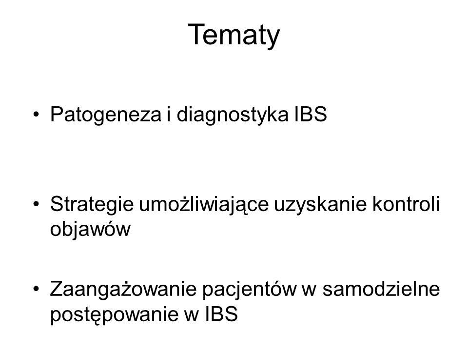 Tematy Patogeneza i diagnostyka IBS Strategie umożliwiające uzyskanie kontroli objawów Zaangażowanie pacjentów w samodzielne postępowanie w IBS