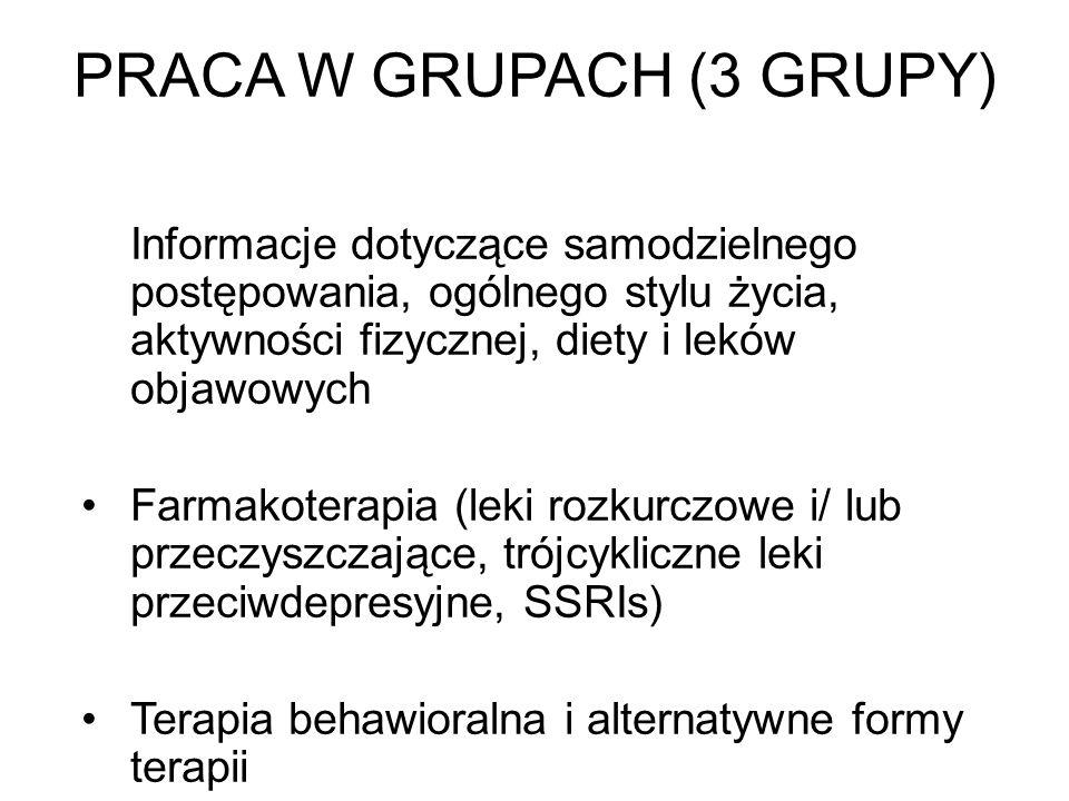 PRACA W GRUPACH (3 GRUPY) Informacje dotyczące samodzielnego postępowania, ogólnego stylu życia, aktywności fizycznej, diety i leków objawowych Farmak
