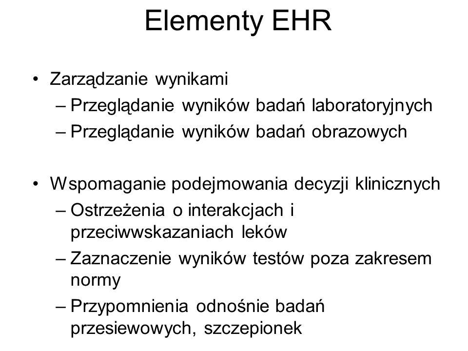 Elementy EHR Zarządzanie wynikami –Przeglądanie wyników badań laboratoryjnych –Przeglądanie wyników badań obrazowych Wspomaganie podejmowania decyzji