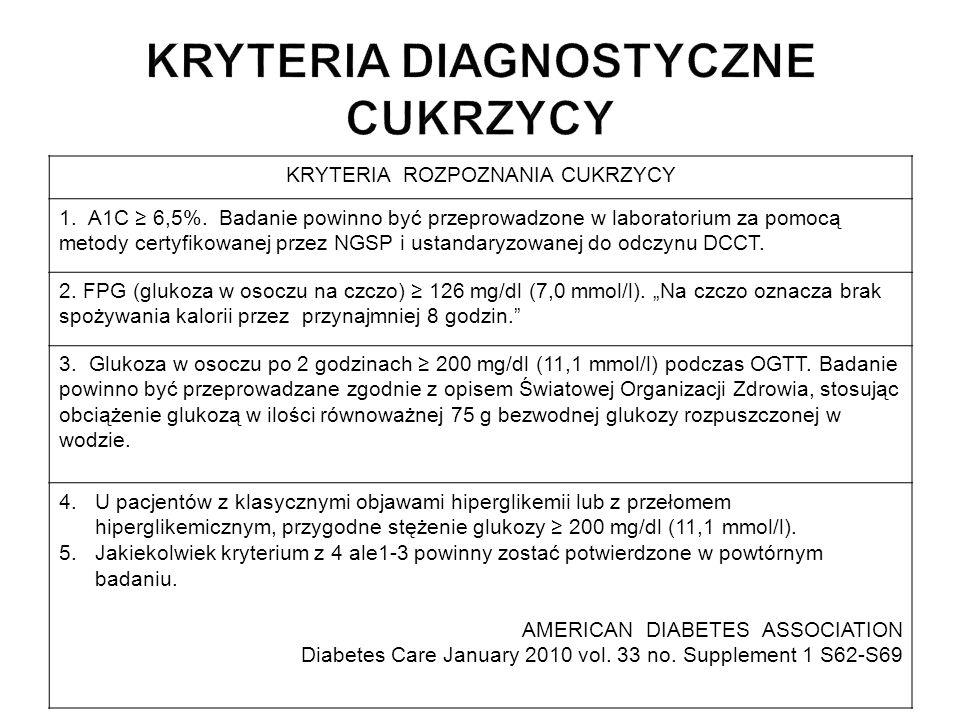KRYTERIA ROZPOZNANIA CUKRZYCY 1. A1C 6,5%. Badanie powinno być przeprowadzone w laboratorium za pomocą metody certyfikowanej przez NGSP i ustandaryzow