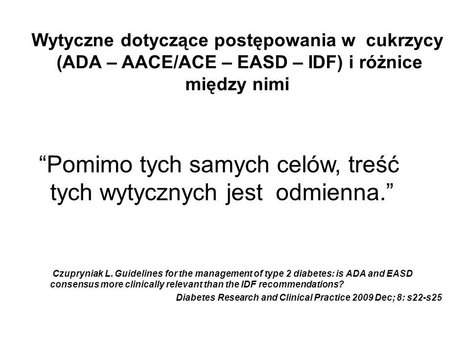 Wytyczne dotyczące postępowania w cukrzycy (ADA – AACE/ACE – EASD – IDF) i różnice między nimi Pomimo tych samych celów, treść tych wytycznych jest od