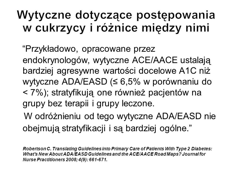 Przykładowo, opracowane przez endokrynologów, wytyczne ACE/AACE ustalają bardziej agresywne wartości docelowe A1C niż wytyczne ADA/EASD ( 6,5% w porów