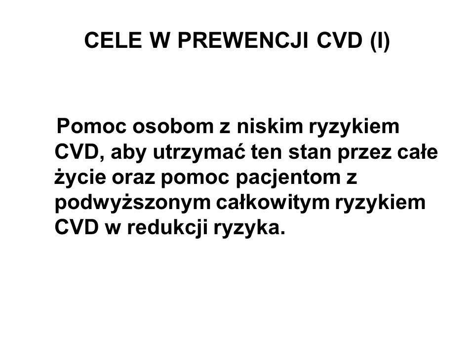 CELE W PREWENCJI CVD (I) Pomoc osobom z niskim ryzykiem CVD, aby utrzymać ten stan przez całe życie oraz pomoc pacjentom z podwyższonym całkowitym ryz