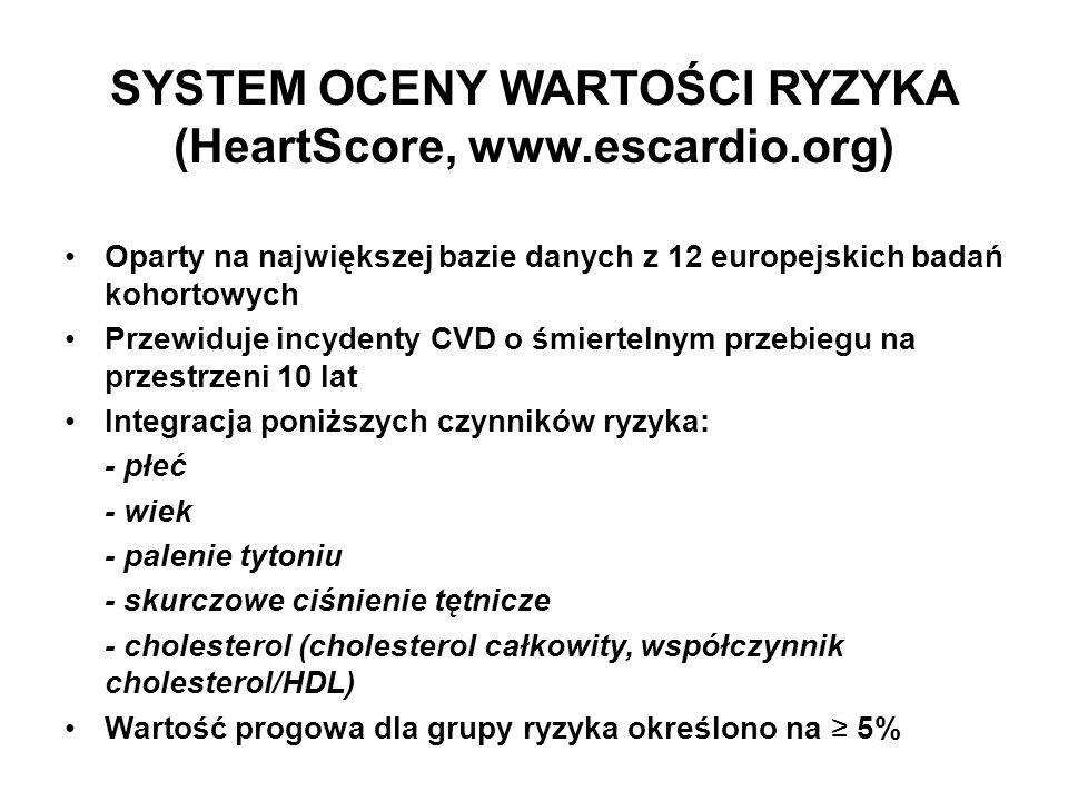 SYSTEM OCENY WARTOŚCI RYZYKA (HeartScore, www.escardio.org) Oparty na największej bazie danych z 12 europejskich badań kohortowych Przewiduje incydent