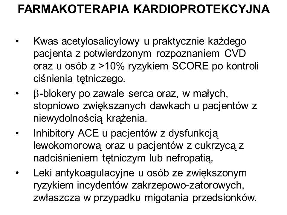 FARMAKOTERAPIA KARDIOPROTEKCYJNA Kwas acetylosalicylowy u praktycznie każdego pacjenta z potwierdzonym rozpoznaniem CVD oraz u osób z >10% ryzykiem SC