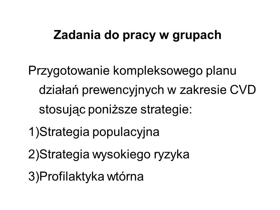 Zadania do pracy w grupach Przygotowanie kompleksowego planu działań prewencyjnych w zakresie CVD stosując poniższe strategie: 1)Strategia populacyjna