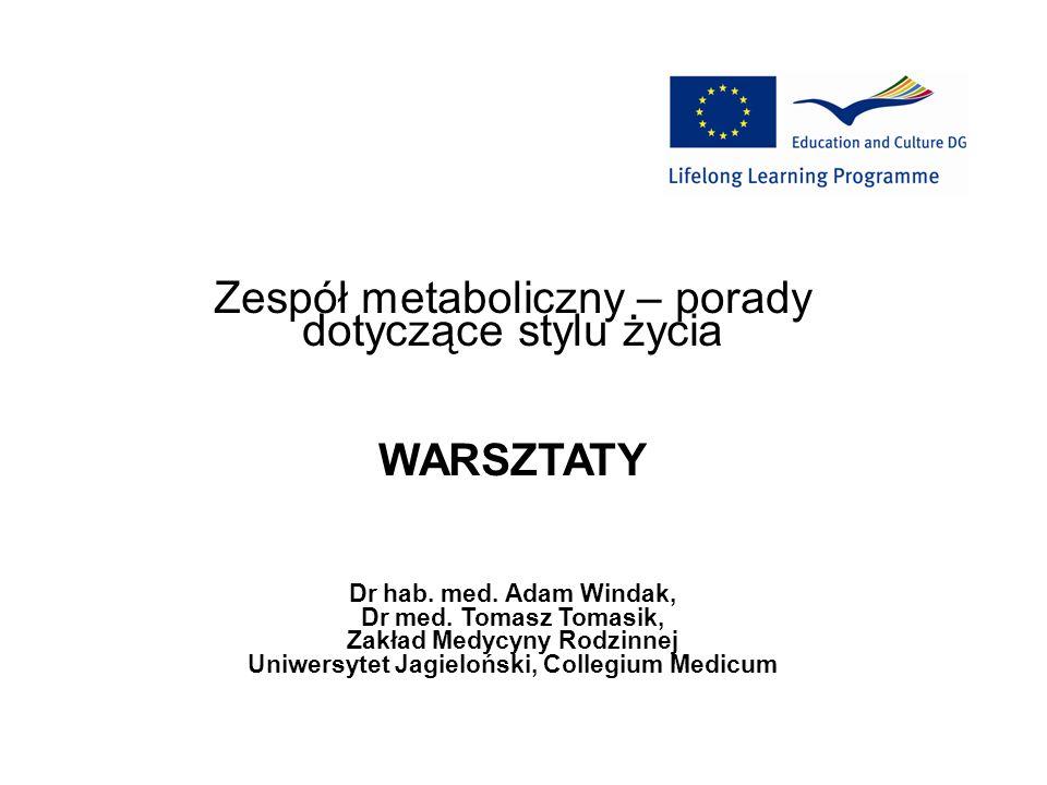 Zespół metaboliczny – porady dotyczące stylu życia WARSZTATY Dr hab. med. Adam Windak, Dr med. Tomasz Tomasik, Zakład Medycyny Rodzinnej Uniwersytet J