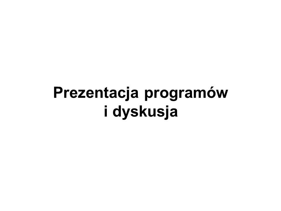 Prezentacja programów i dyskusja