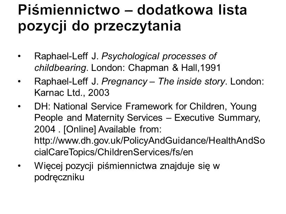 Raphael-Leff J. Psychological processes of childbearing. London: Chapman & Hall,1991 Raphael-Leff J. Pregnancy – The inside story. London: Karnac Ltd.