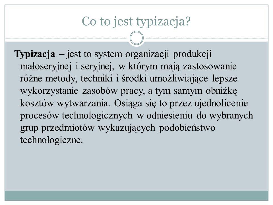 Co to jest typizacja? Typizacja – jest to system organizacji produkcji małoseryjnej i seryjnej, w którym mają zastosowanie różne metody, techniki i śr