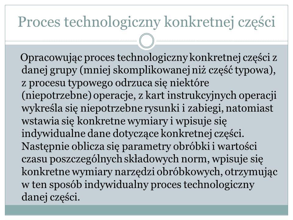 Istota typizacji Badanie i analiza procesów obróbki poszczególnych części Przeprowadzenie uogólnień na podstawie najnowszych osiągnięć techniki Nadanie uogólnieniom dyrektyw i zaleceń ujętych ogólnymi zasadami projektowania Rozszerzenie tych uogólnień na całe grupy przedmiotów technologicznie podobnych