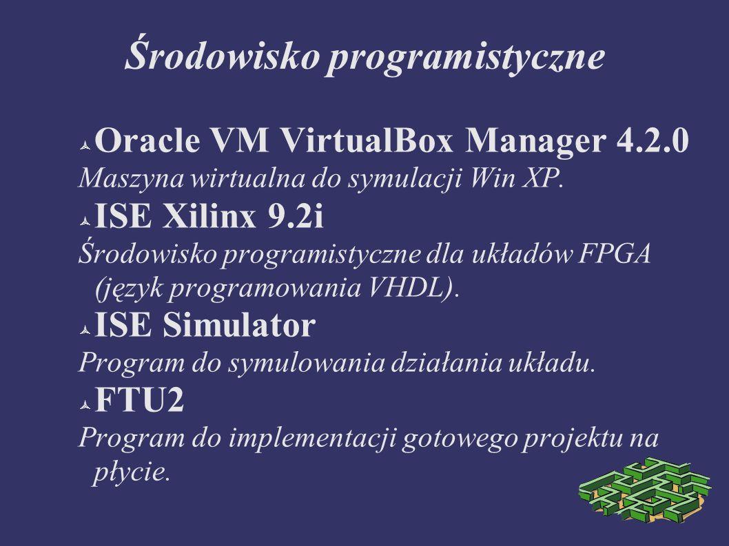 Środowisko programistyczne Oracle VM VirtualBox Manager 4.2.0 Maszyna wirtualna do symulacji Win XP. ISE Xilinx 9.2i Środowisko programistyczne dla uk