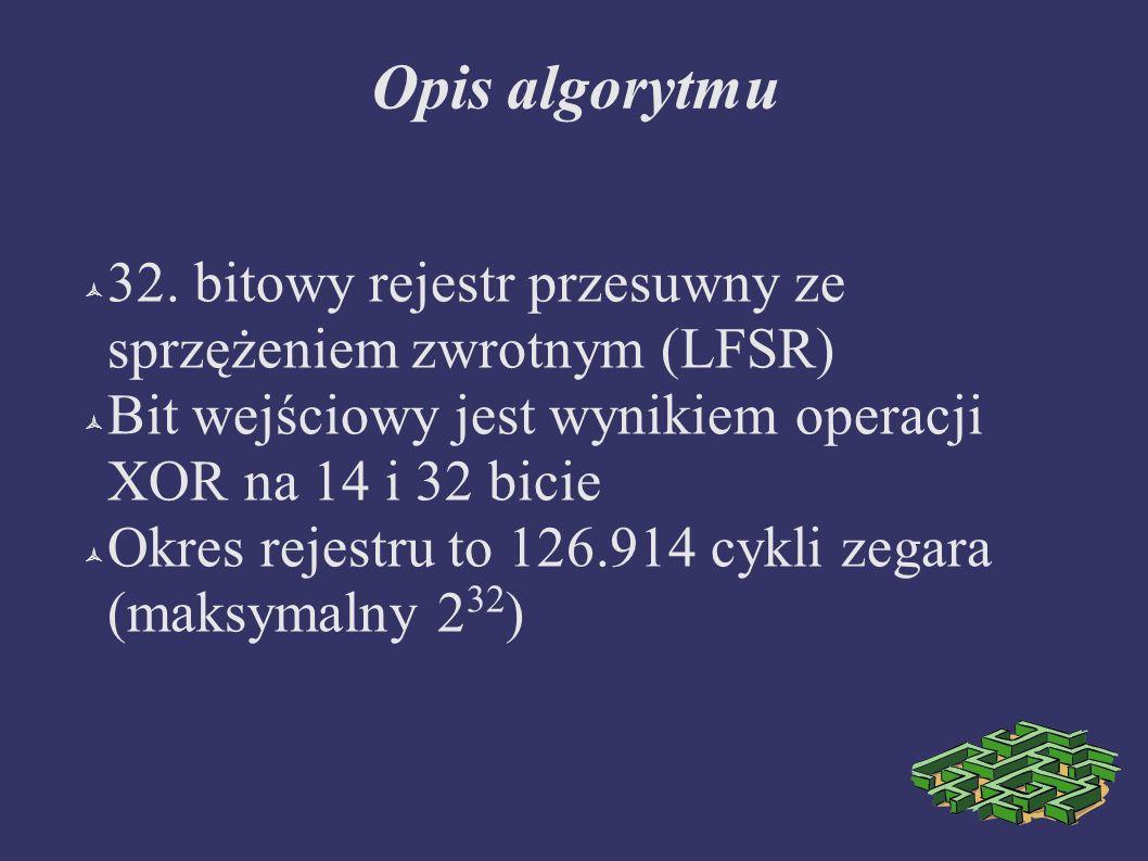 Opis algorytmu 32. bitowy rejestr przesuwny ze sprzężeniem zwrotnym (LFSR) Bit wejściowy jest wynikiem operacji XOR na 14 i 32 bicie Okres rejestru to
