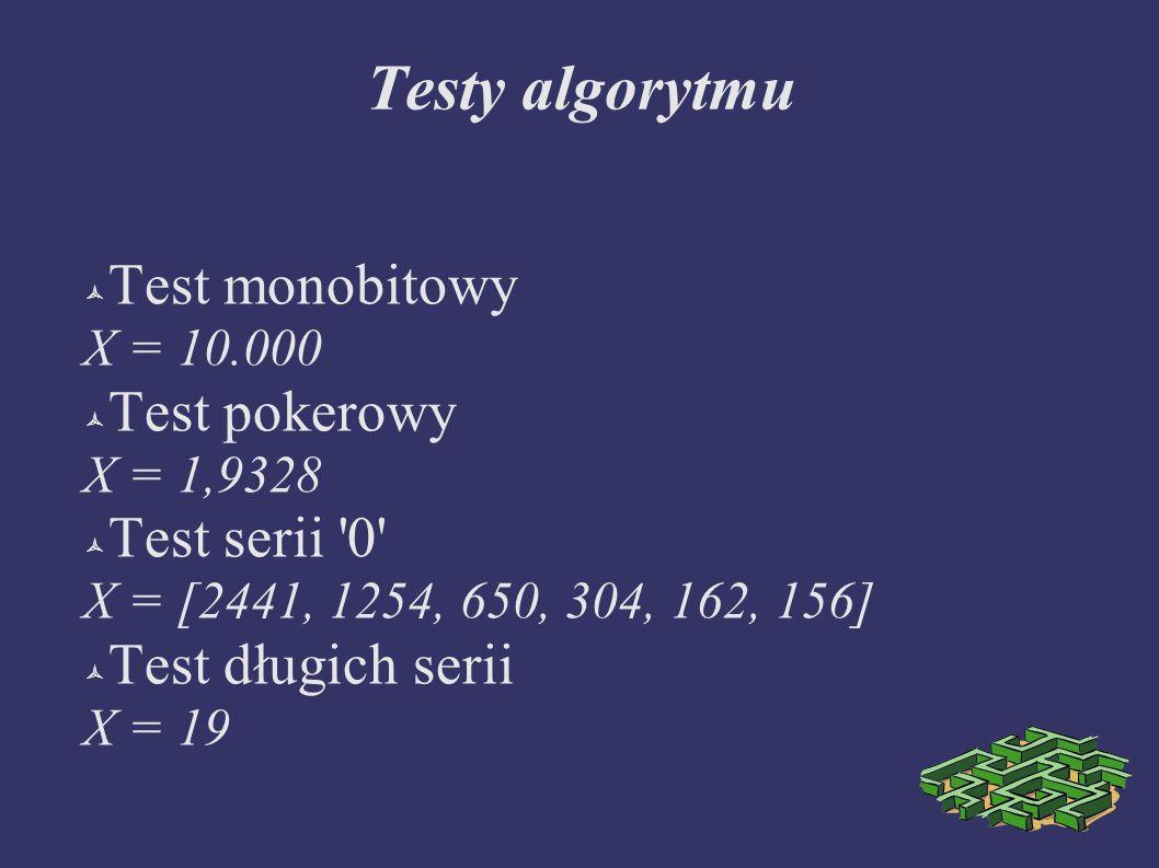 Testy algorytmu Test monobitowy X = 10.000 Test pokerowy X = 1,9328 Test serii '0' X = [2441, 1254, 650, 304, 162, 156] Test długich serii X = 19