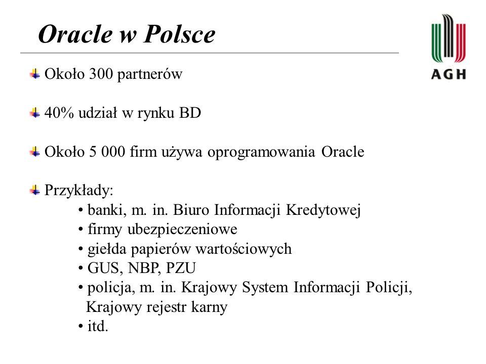 Oracle w Polsce Około 300 partnerów 40% udział w rynku BD Około 5 000 firm używa oprogramowania Oracle Przykłady: banki, m. in. Biuro Informacji Kredy