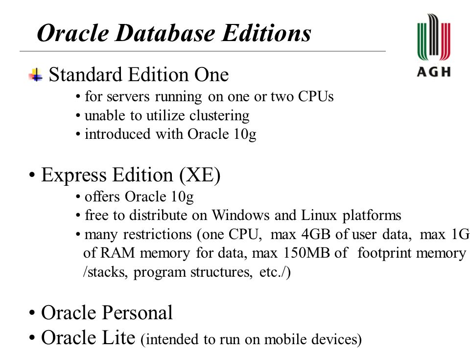 Oracle Database Editions Standard Edition One for servers running on one or two CPUs unable to utilize clustering introduced with Oracle 10g Express E
