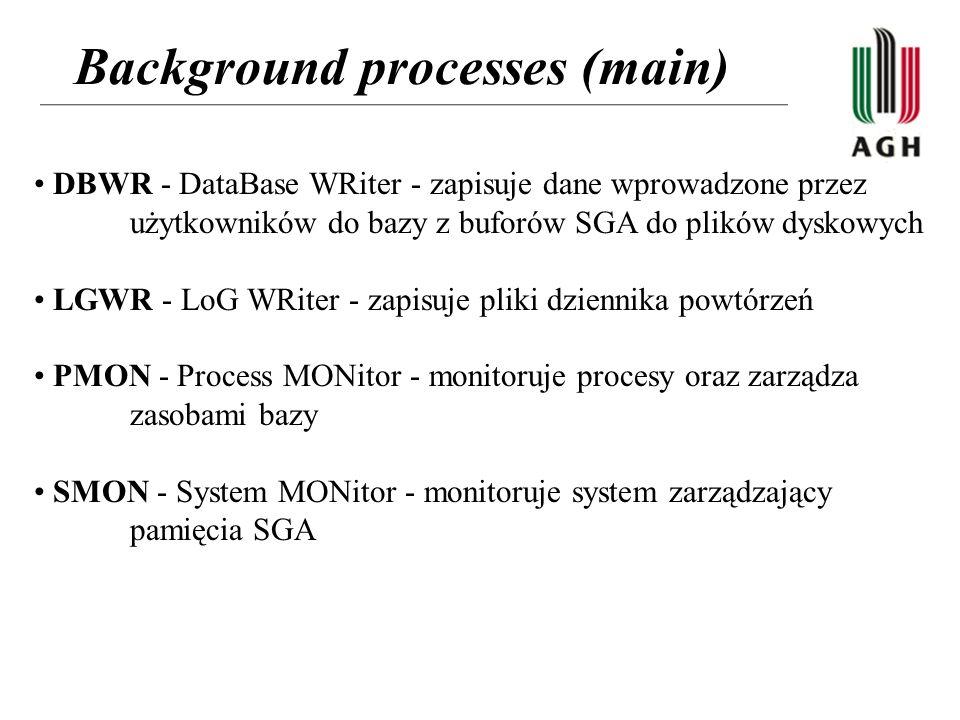 Background processes (main) DBWR - DataBase WRiter - zapisuje dane wprowadzone przez użytkowników do bazy z buforów SGA do plików dyskowych LGWR - LoG