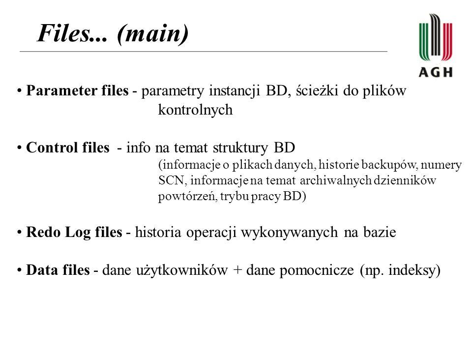 Files... (main) Parameter files - parametry instancji BD, ścieżki do plików kontrolnych Control files - info na temat struktury BD (informacje o plika
