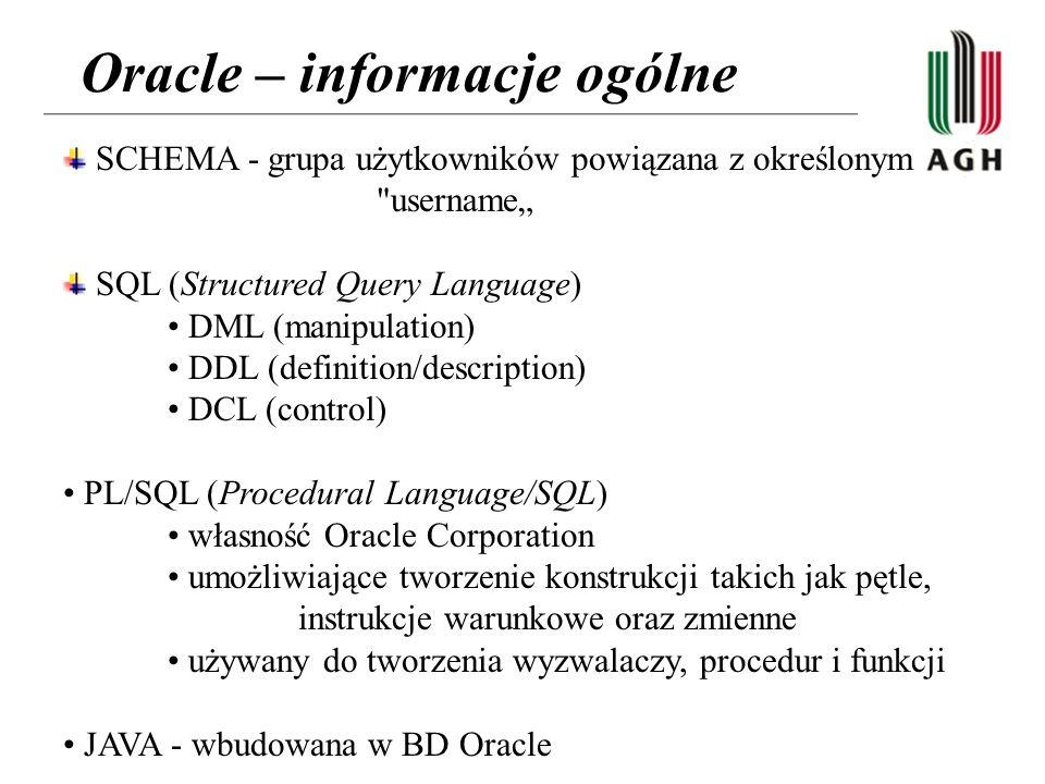 Oracle – informacje ogólne SCHEMA - grupa użytkowników powiązana z określonym