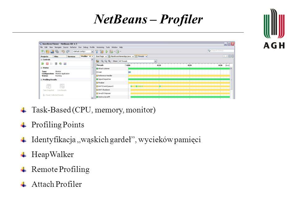 NetBeans – Profiler Task-Based (CPU, memory, monitor) Profiling Points Identyfikacja wąskich gardeł, wycieków pamięci HeapWalker Remote Profiling Atta