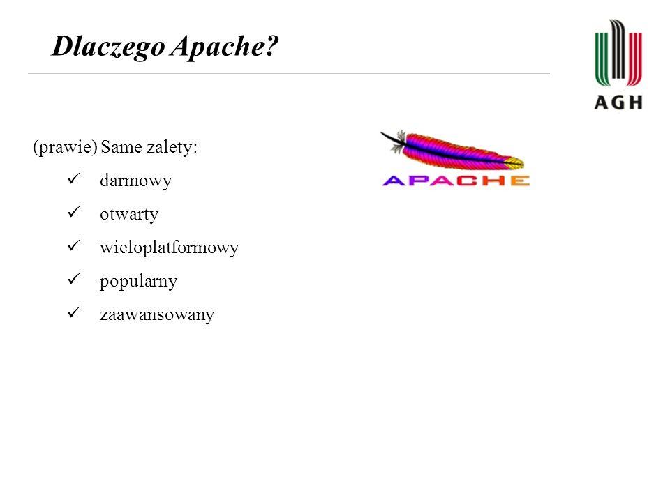 Dlaczego Apache? (prawie) Same zalety: darmowy otwarty wieloplatformowy popularny zaawansowany